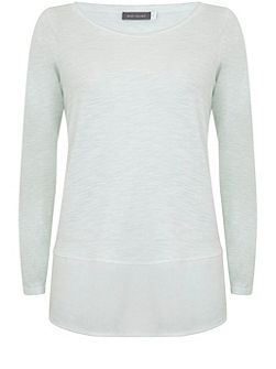 Mint Long Sleeve Woven Hem Tee
