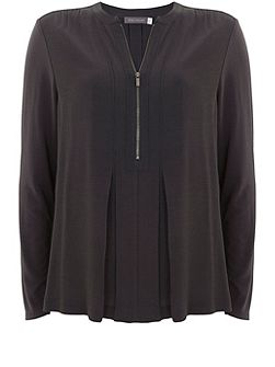 Carbon Pleated Zip Front Blouse