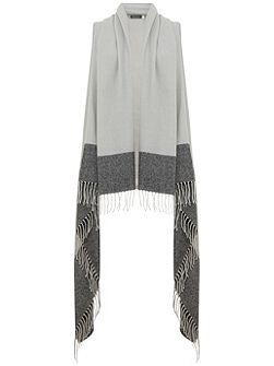 Silver Grey Colourblock Drape Cape