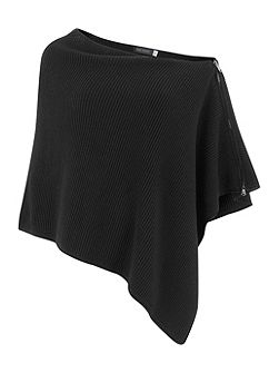 Black Ribbed Zip Detail Poncho