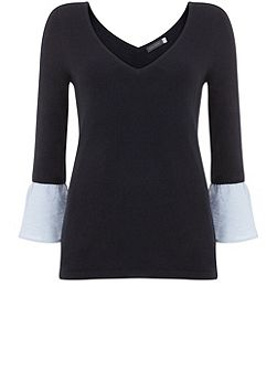 Ink Fluted Cuff V-Neck Knit