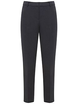 Navy Stretch Cottn Cropped Trouser