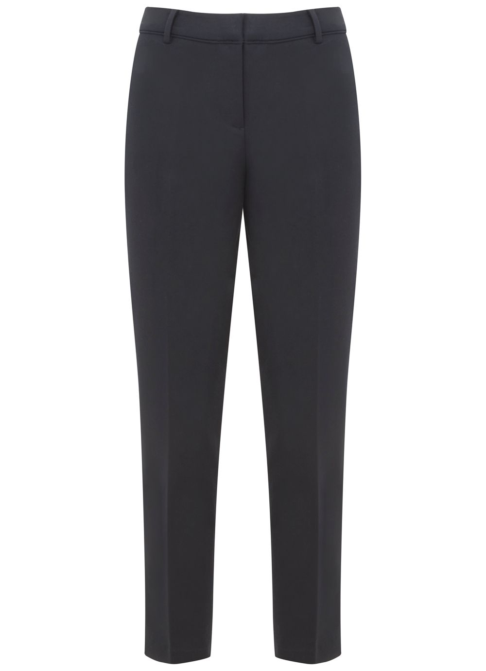 Mint Velvet Navy Stretch Cotton Cropped Trouser, Blue