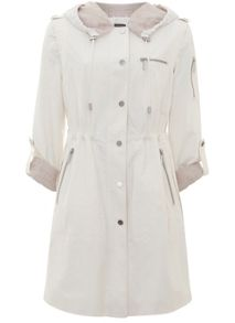 Mint Velvet Cream Linen Lined Parka