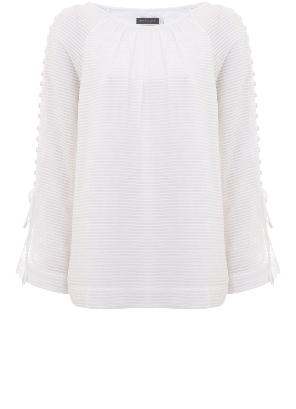 Mint Velvet Ivory Stripe Button Sleeve Blouse, White