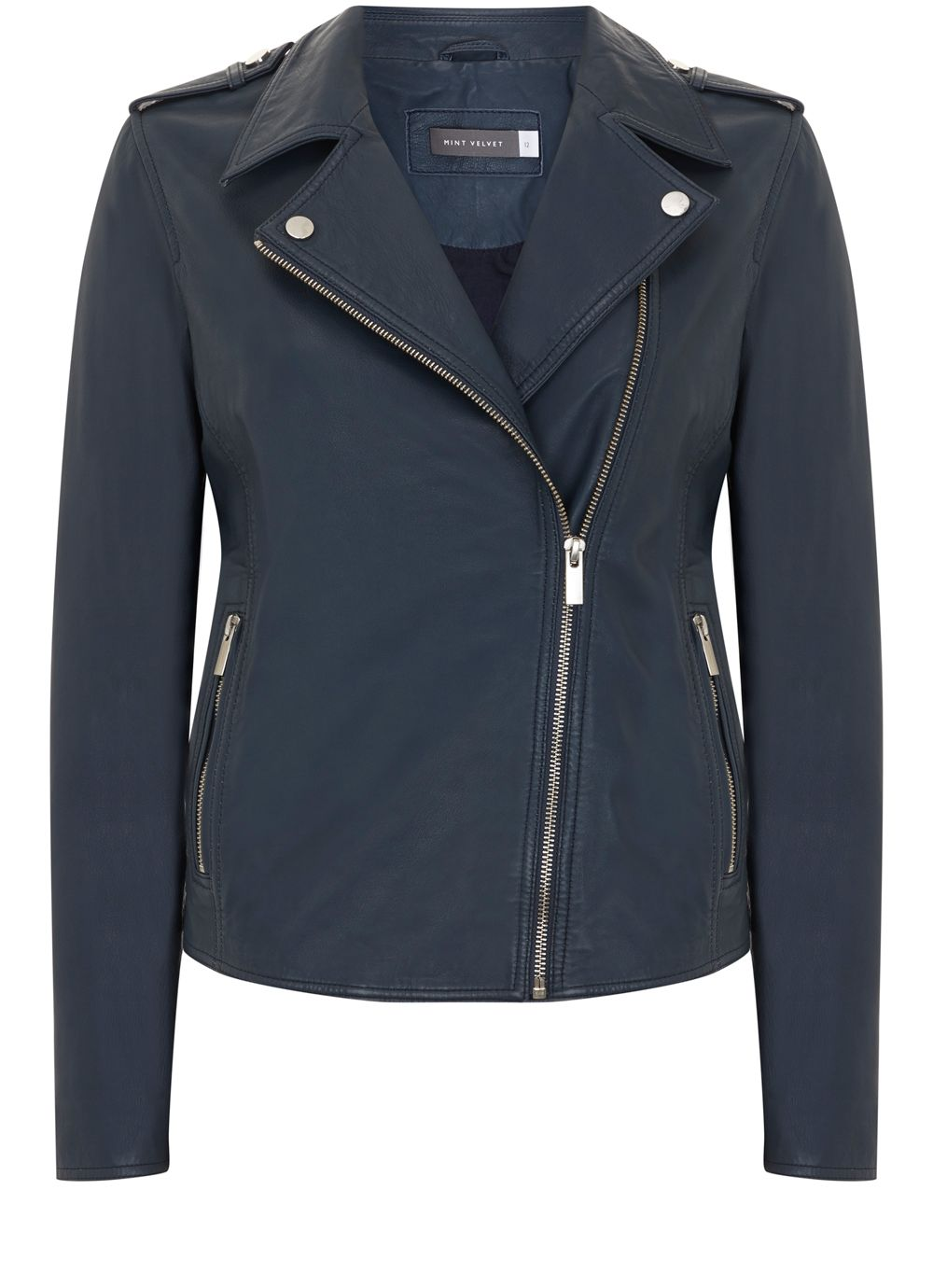 Mint Velvet Indigo Washed Leather Biker Jacket, Blue