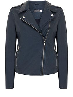 Indigo Washed Leather Biker Jacket