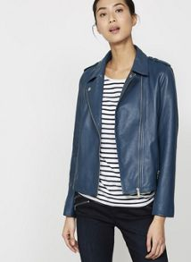 Mint Velvet Indigo Washed Leather Biker Jacket