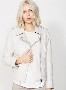 Mint Velvet Oyster Washed Leather Biker Jacket
