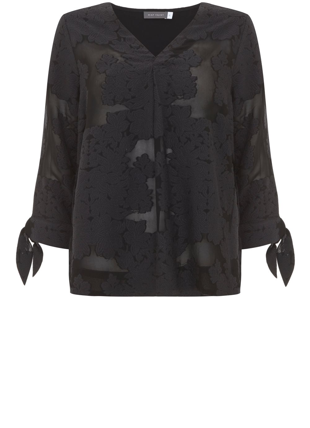 Mint Velvet Black Floral Jacquard Blouse, Black
