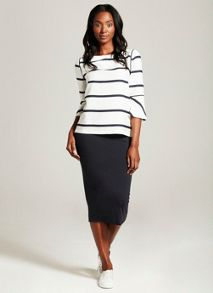 Mint Velvet Navy Fold Over Midi Skirt
