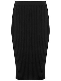 Black Rib Knitted Pencil Skirt