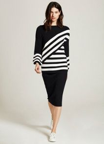 Mint Velvet Ink Diagonal Stripe Knit