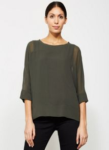 Mint Velvet Khaki Double Layer Batwing