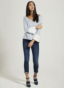 Mint Velvet Cloud Fluted Cuff V-Neck Knit
