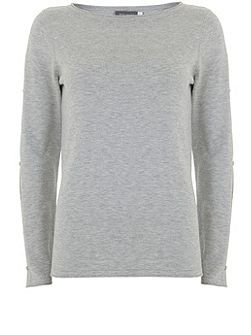 Silver Grey Cut Out Sleeve Knit