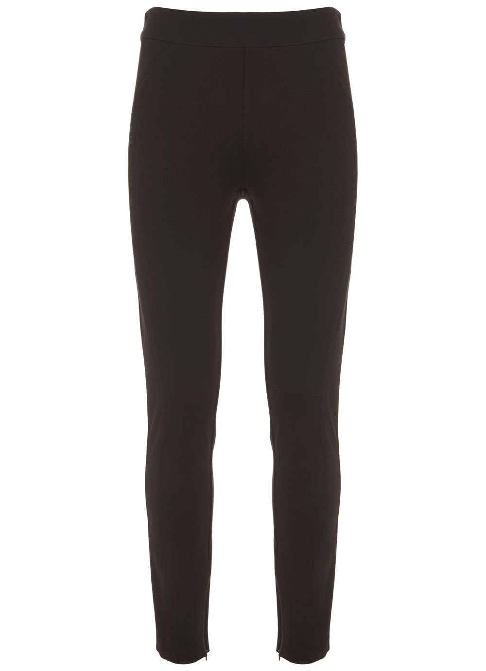 Mint Velvet Black Ponte Zip Detail Legging, Black