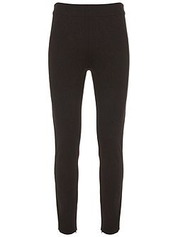 Black Ponte Zip Detail Legging