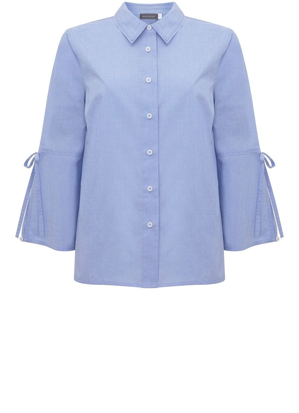 Mint Velvet Bluebell Tie Sleeve Shirt, Blue