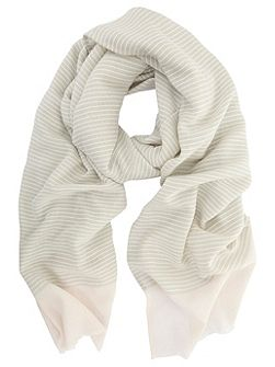 Grey & Candy Floss Woven Stripe Scarf