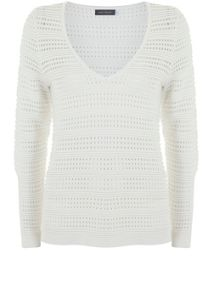 Mint Velvet Ivory Pointelle V-Neck Knit