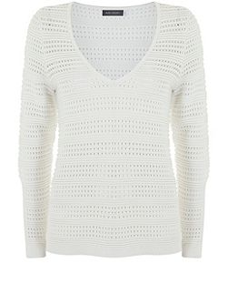 Ivory Pointelle V-Neck Knit