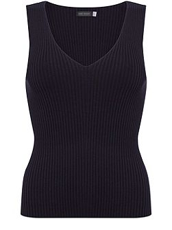 Ink Ribbed Knitted Vest