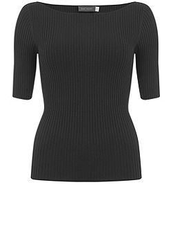 Black Ribbed Knitted Tee