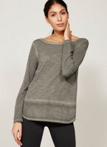 Mint Velvet Dark Khaki Long Sleeve Woven Hem Tee
