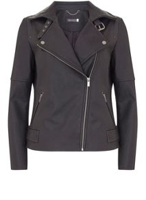 Mint Velvet Carbon Clean Leather Biker Jacket