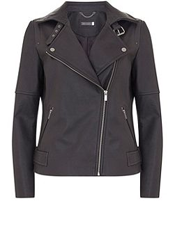 Carbon Clean Leather Biker Jacket