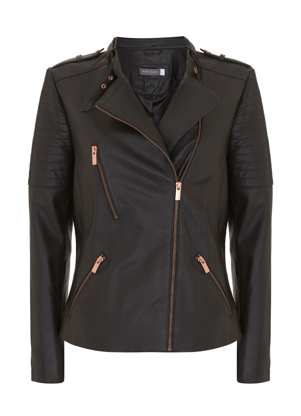 Mint Velvet Black Leather Collarless Biker Jacket, Grey