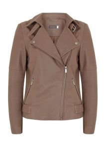 Mint Velvet Mink Clean Leather Biker Jacket