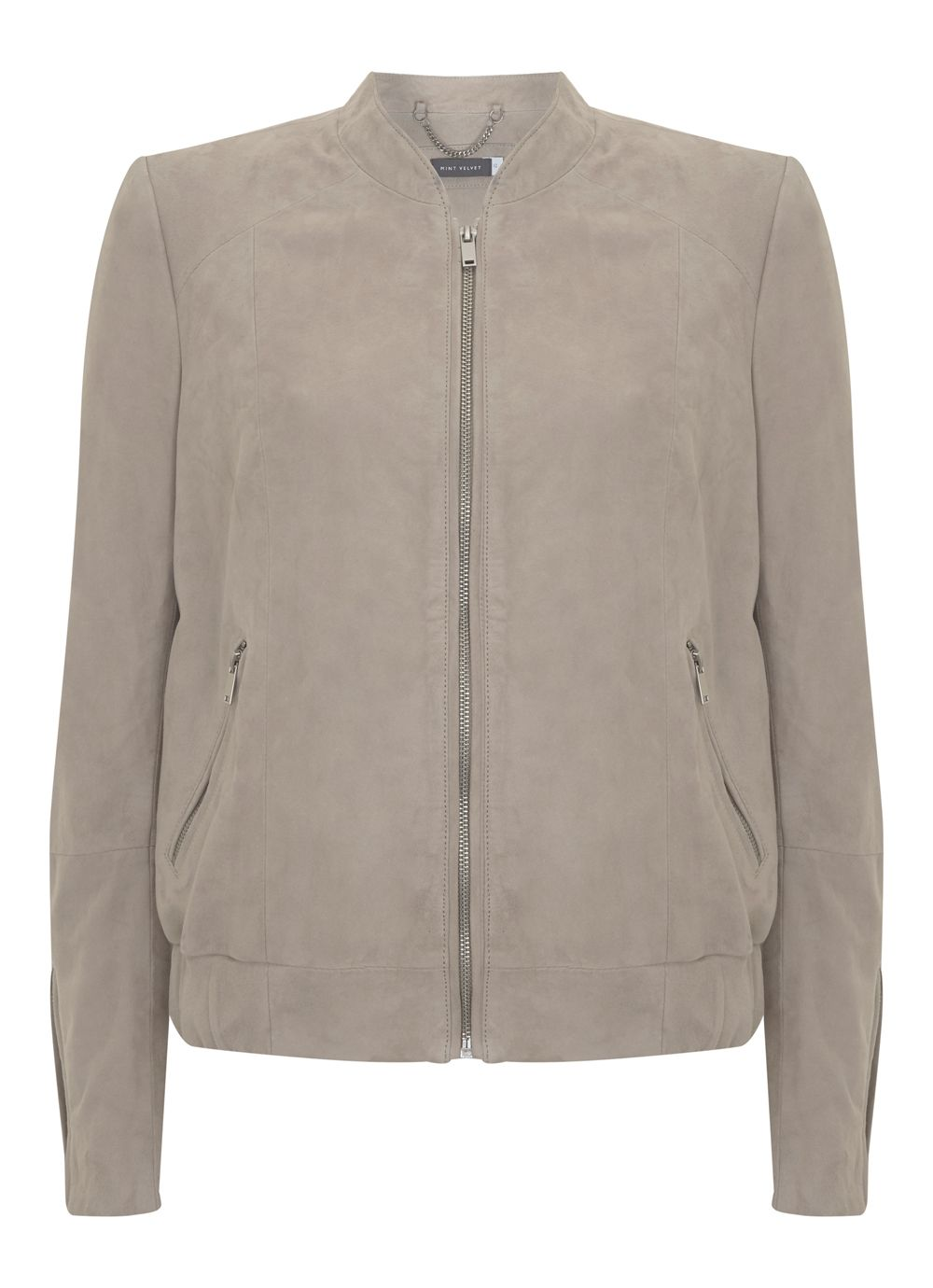 Mint Velvet Oyster Suede Bomber Jacket, Neutral