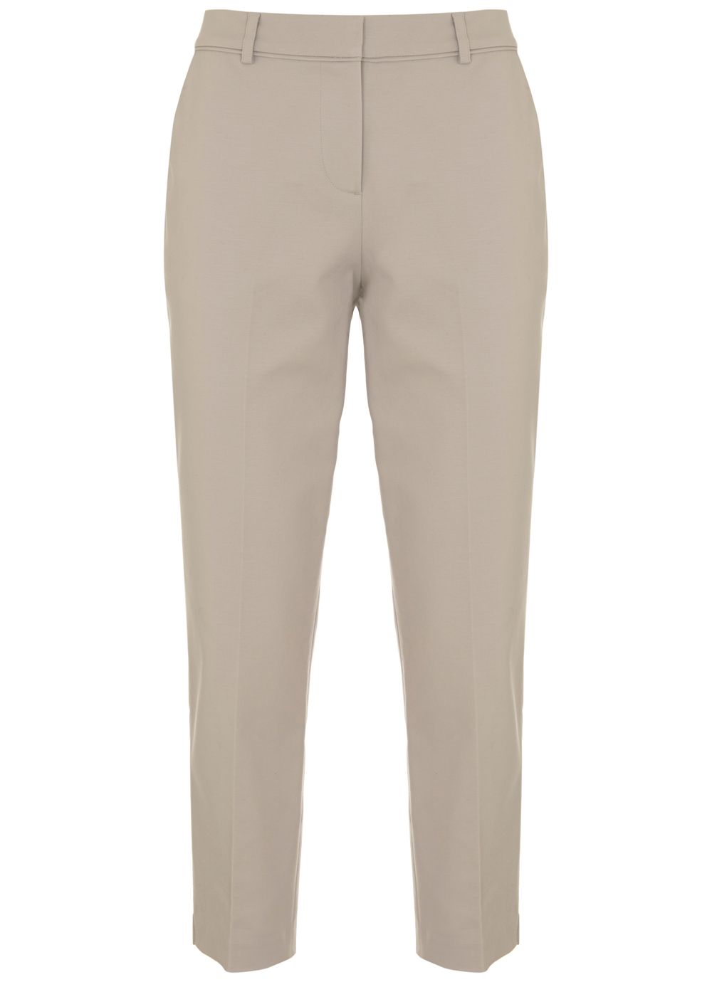 Mint Velvet Oyster Stretch Cotton Crop Trouser, Neutral
