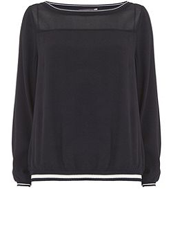 Ink Knitted Trim Blouson