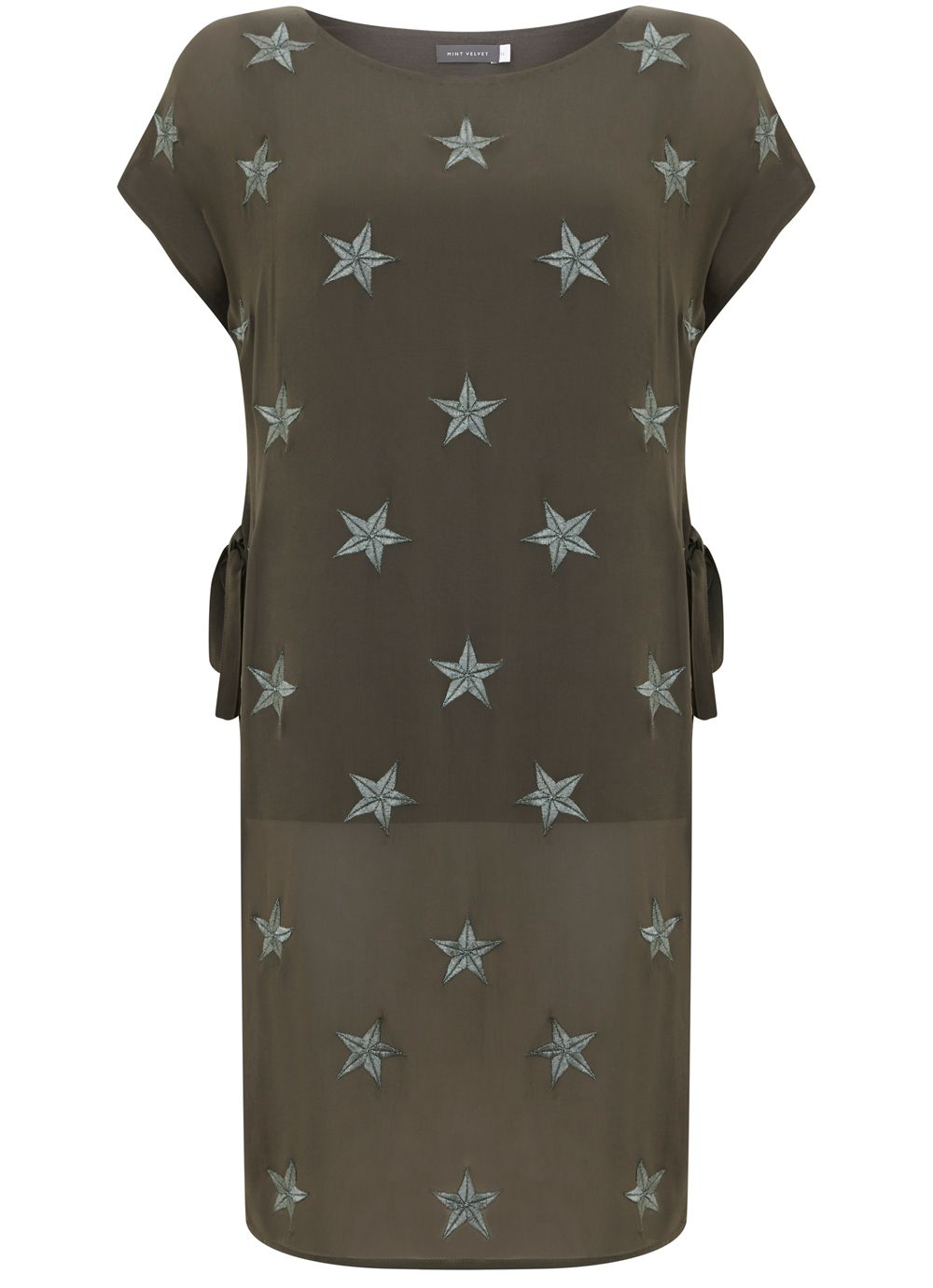 Mint Velvet Khaki Star Printed Tunic, Green
