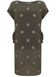 Mint Velvet Khaki Star Printed Tunic