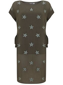 Khaki Star Printed Tunic