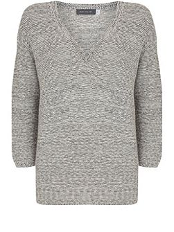 Grey Marl Tape V-Neck Knit