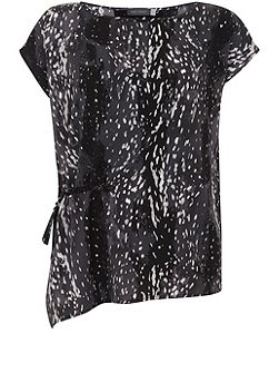 Scarlett Print Rouched Side Blouse