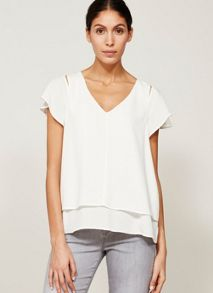 Mint Velvet Ivory Double Layer Shell Top
