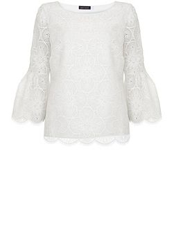 Ivory Lace Fluted Sleeve Top