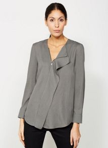 Mint Velvet Dark Khaki Ruffle Zip Blouse