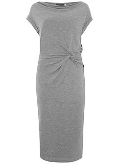 Silver Grey Twist Front Dress