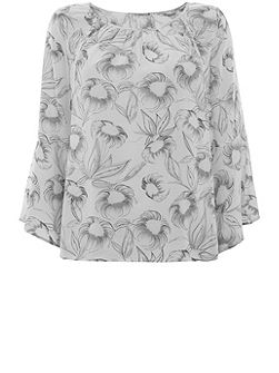 Ivah Print Fluted Sleeve Blouse