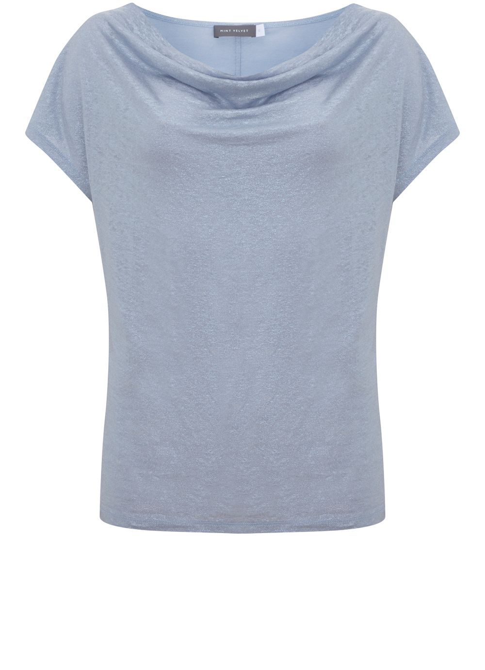 Mint Velvet Cloud Shimmer Cowl Neck Tee, Light Blue