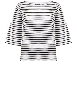 Stripe Fluted Sleeve Tee