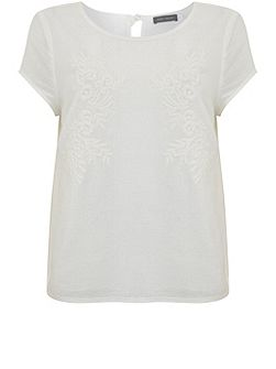 Ivory Floral Embroidered Tee