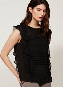 Mint Velvet Black Folk Embroidered Shell Top